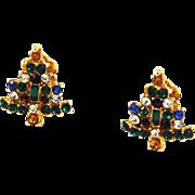 Colorful Rhinestone Christmas Tree Clip On Earrings Vintage