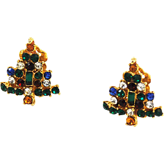 Colorful Rhinestone Christmas Tree Clip On Earrings Vintage