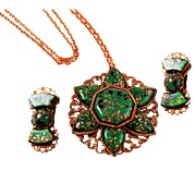 Copper & Green Confetti Glass Necklace Earring Set 1960's