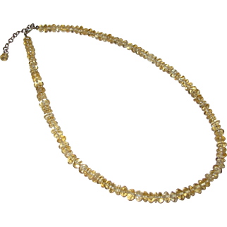 Natural Citrine Necklace - 6mm beads - 18 inch length including Sterling Extender
