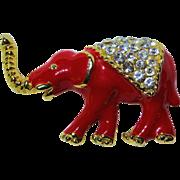 Enamel & Crystal Elephant Pin Brooch - Red & Gold Tone