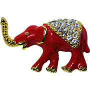 Enamel & Crystal Elephant Pin Brooch - Red & Gold Tone