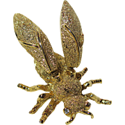 Boucher Signed - Trembler Bee Pin Brooch - Gold Plated - Crystal Eyes