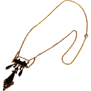 Antique Edwardian 10k Gold French Jet and Pearl Lavalier Pendant Necklace