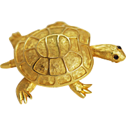 Gold Plated Turtle Brooch Vintage