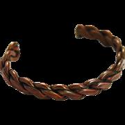 Copper Braided Unisex Cuff Bracelet Vintage