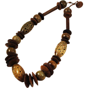 Carved Serpentine & Wood Necklace Chunky BOHO