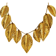 Napier Gold Plated Leaf Necklace Vintage