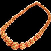Art Deco Pink Carved Celluloid Necklace Vintage