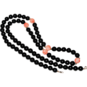 Opera Length Black Coral & Angel Skin Necklace - 14K Gold Clasp - 26 inches length - 7mm Beads AA Quality
