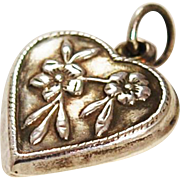Victorian Sterling Heart Charm With Forget Me Nots
