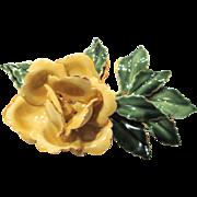 Sandor - Enamel Yellow Rose Pin Brooch - Vintage