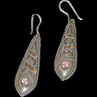 Sterling & Amethyst Indian Earrings Vintage