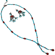 Turquoise, Oxblood Coral & Sterling Necklace & Dangle Earrings - Set