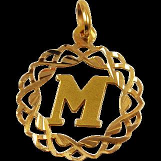 Gold Initial M Pendant Charm 18K Monogram