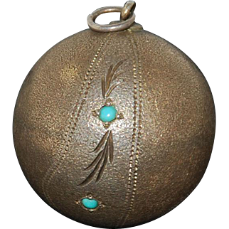 Antique Sterling Silver Turquoise Ball Pendant