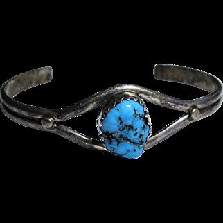 Vintage Children's - Southwestern Turquoise & Sterling Silver Bracelet -  Bangle