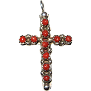 Reversible - Southwestern Red Coral Turquoise & Sterling Silver Cross Pendant