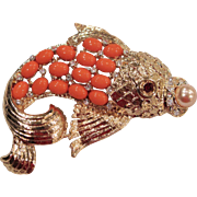 Vintage Faux Coral Pearl & Rhinestones - Fish Pin Brooch