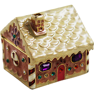 Monet Gingerbread House Trinket Box Holiday
