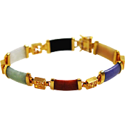 Colorful Jade and Gold Filled Chinese Bracelet