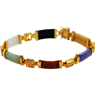 Multi Colored - Jade and Gold Filled Chinese Bracelet