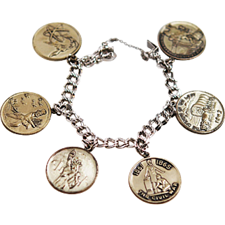 Sterling American History Charm Bracelet Medallions by R.L. Griffith & Sons