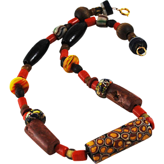 African Trade Bead Necklace BOHO Ethnic