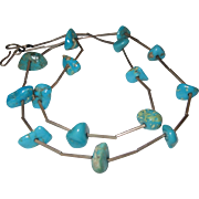 Vintage Southwestern - Turquoise Nugget Necklace & Sterling Silver Tube Beads 26 1/2 inches Length