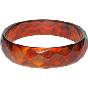 Carved - Root Beer Bakelite Bangle - Faceted