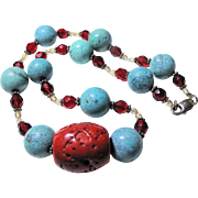 Red Bamboo Coral & Turquoise Howlite Necklace, Sterling Clasp
