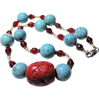 Red Bamboo Coral & Turquoise Howlite Necklace