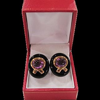 Kai Yin Lo - Amethyst Cabochon & Black Onyx - Sterling Vermeil Earrings