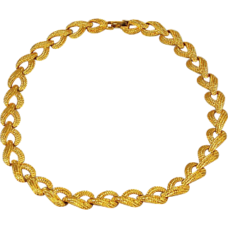Napier Gold Plated and Textured Choker Necklace