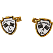 Indianapolis 500 Enamel Flag Cuff Links