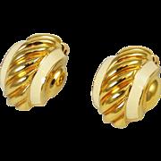 St. John Gold Plated and Ivory Enamel Designer Earrings