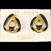 St. John Enamel Designer Earrings New on Card