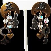 Susan L Richardson Sterling & Brass Frog Earrings
