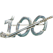 Doskow Golf 100 Sterling Silver Brooch