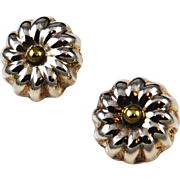 Sterling & Brass Floral Clip On Earrings Taxco Mexican