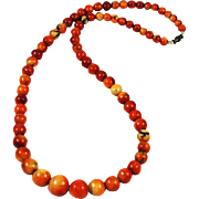 Apple Coral Graduated Necklace Vintage Rare