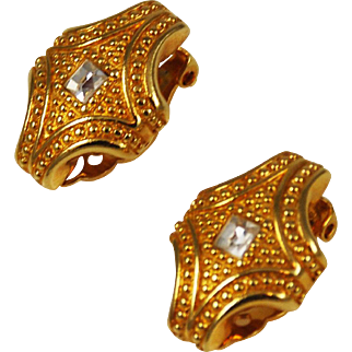 Swarovski Gold and Crystal Clip-On Earrings Vintage Swan Signed