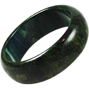Spinach Green Bakelite Bangle Chunky Bracelet 1 inch