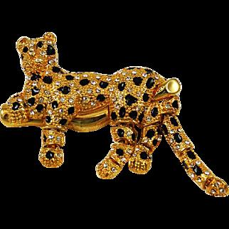 Leopard Rhinestone Brooch Articulated