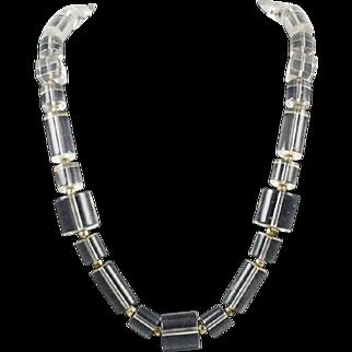 Clear Lucite Necklace Vintage 1970's