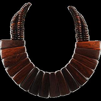 Vintage Wood Collar Necklace - Mid-Century Modern