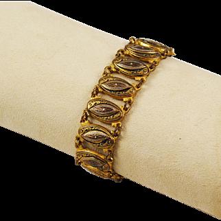 Damascene Gold Filled Link Bracelet Spanish