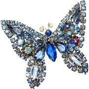 Weiss - Butterfly Pin Brooch - Blue - Large 2 1/4 Inches
