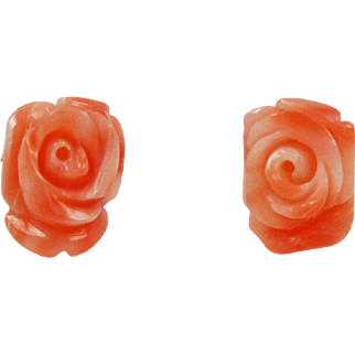 Pink Carved Coral Earrings 14Kt Gold Posts Angel Skin