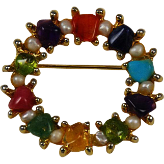 Swoboda Colorful Gemstone Wreath Pin Vintage